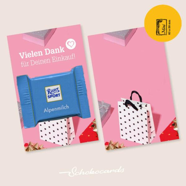 SCHOKOCARDS MINI CARD Beispiel | 60 x 38 mm | Design & Süßigkeit nach Wunsch | Mindestbestellmenge 500 Stück