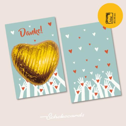 Schokocards Mini Shop Hand aufs Herz