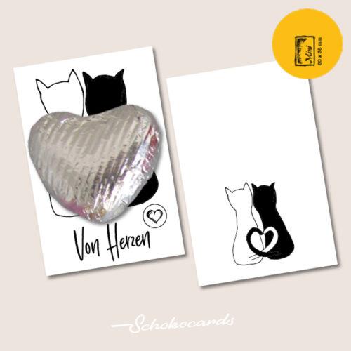 Schokocards Mini Shop Katzen Herz