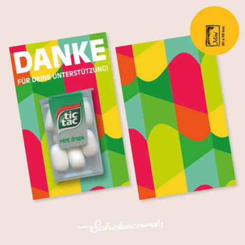 Schokocards designte Karte Mini Card Shop Danke in Retro