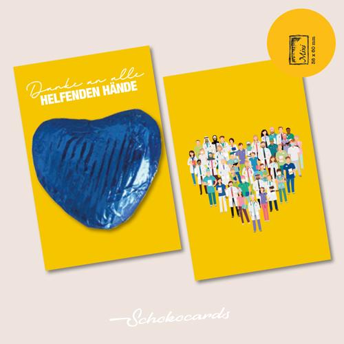 Schokocards Mini Shop Helfende Haende buntes Herz aus Schokolade