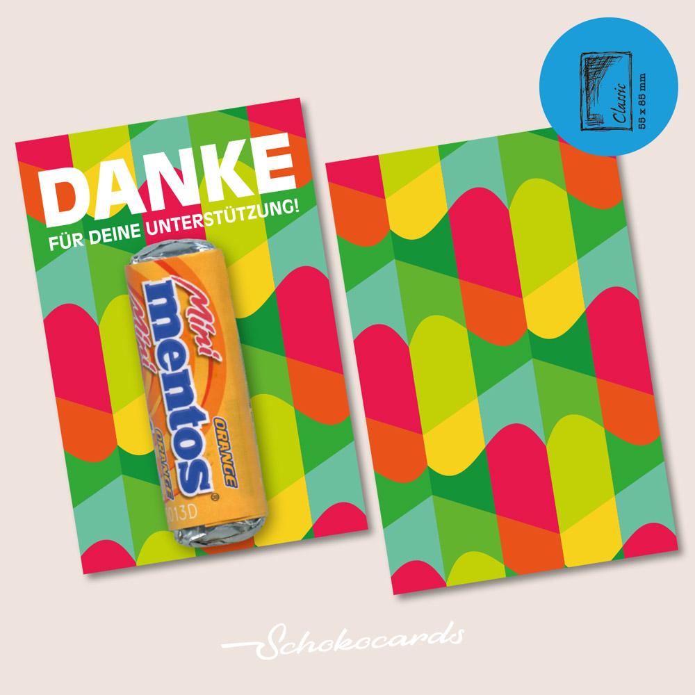Schokocards CLASSIC CARD Beispiel | 55 x 85 mm | Design & Süßigkeit nach Wunsch | Mindestbestellmenge 500 Stück