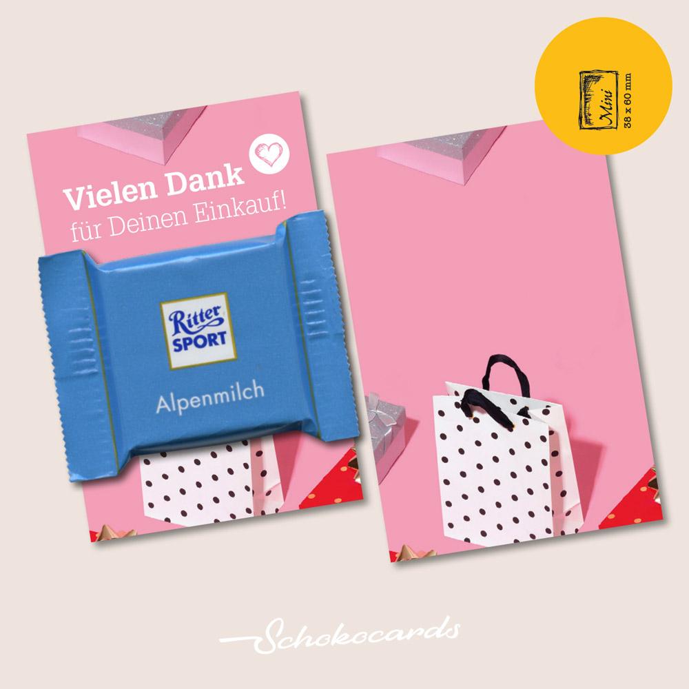 Schokocards MINI CARD Beispiel | 38 x 60 mm | Design & Süßigkeit nach Wunsch | Mindestbestellmenge 500 Stück