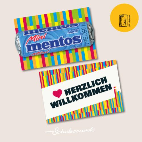 Schokocards Mini Shop Herzlich Willkommen mit Mentos