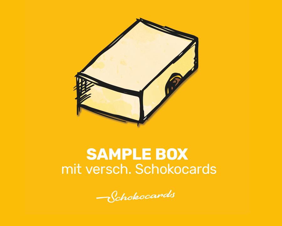 Schokocards Sample Box mit verschiedenen Schokocards