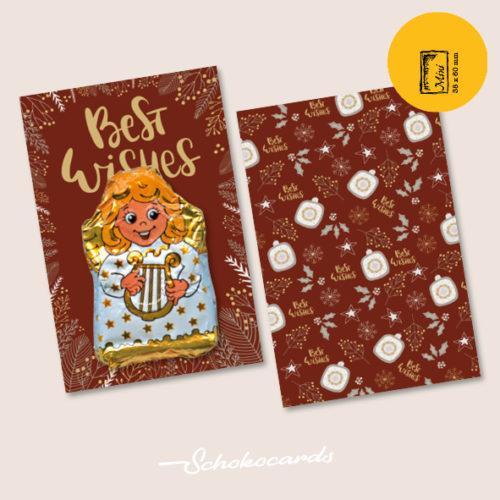 Schokocards Mini Shop Best Wishes mit Engel aus Schokolade