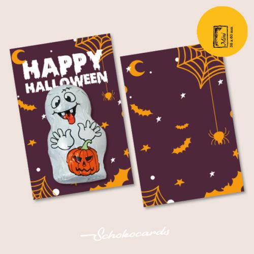 Schokocards Mini Shop Happy Halloween mit Geistern und Skeletten aus Schokolade