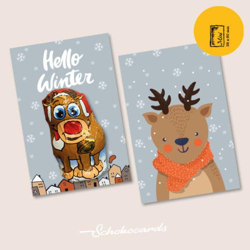 Schokocards Mini Shop Hello Winter mit Rentier aus Schokolade