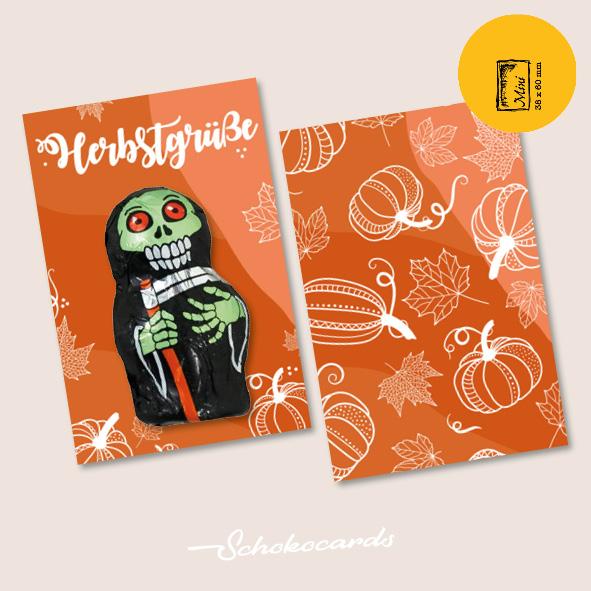 Schokocards Mini Shop Herbstgrüße mit Geistern und Skeletten aus Schokolade