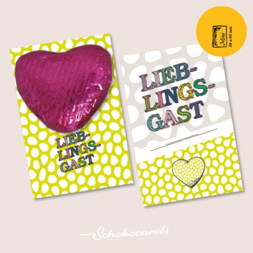 Schokocards Mini Shop Lieblingsgast mit Herzen aus Schokolade