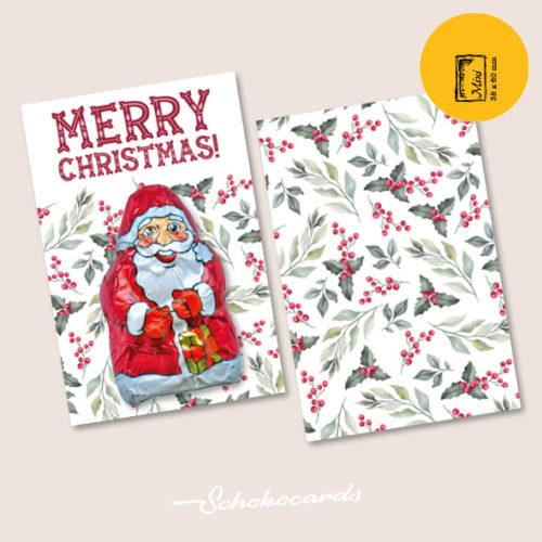 Schokocards Mini Shop Marry Christmas mit Weihnachtsmann aus Schokolade