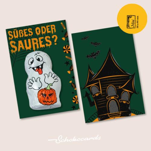 Schokocards Mini Shop Süßes oder Saures mit Geistern und Skeletten aus Schokolade