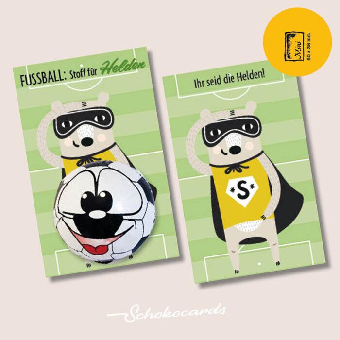 Schokocards Mini Shop Fußball Helden - mit Fußball aus original STORZ Vollmilchschokolade