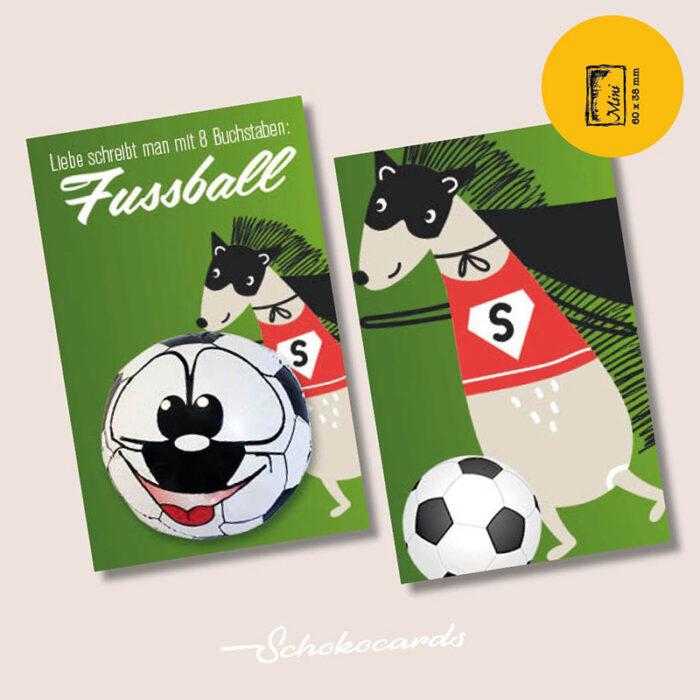 Schokocards Mini Shop Fußball Liebe - mit Fußball aus original STORZ Vollmilchschokolade