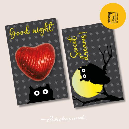 Schokocards Mini Black Owl mit Herzen aus Schokolade