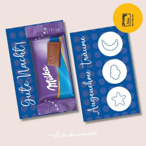 Schokocards Mini Blue Night mit Milka Naps