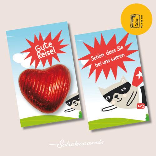 Schokocards Mini Flying Superman mit Schokolade