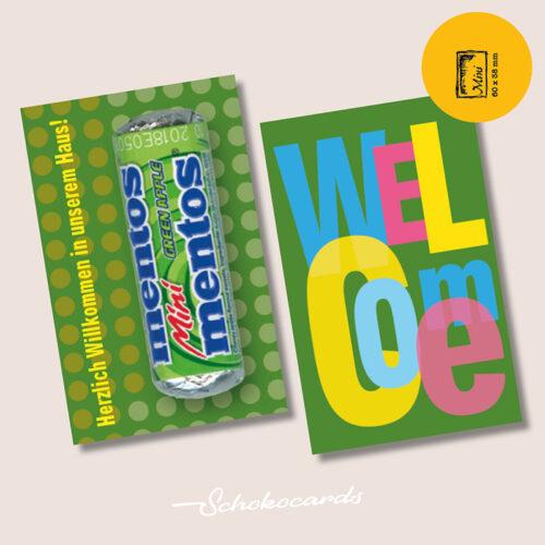 Schokocards Mini Fresh Welcome mit Mentos